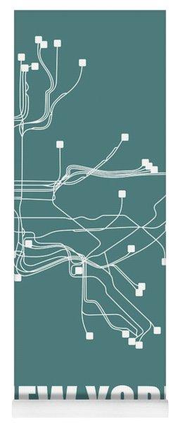 Teal New York Subway Map  Yoga Mat