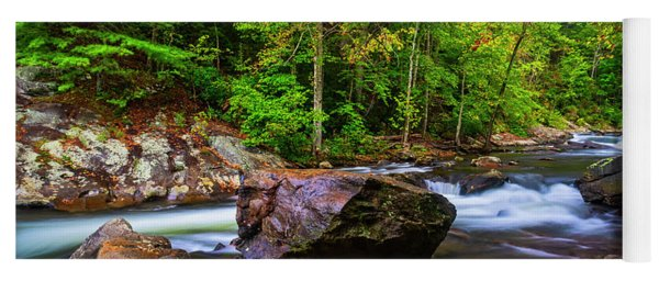 Yoga Mat featuring the photograph Tellico River Serenity by Andy Crawford