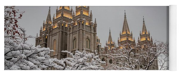 Temple In The Snow Yoga Mat