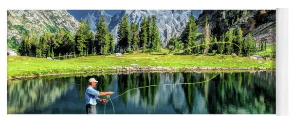 Grand Teton National Park Mountain Lake Fishing Yoga Mat