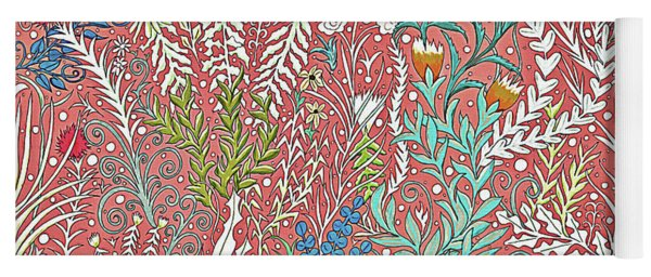 Textured Salmon Colored Tapestry Design With Leaves And Butterflies Yoga Mat