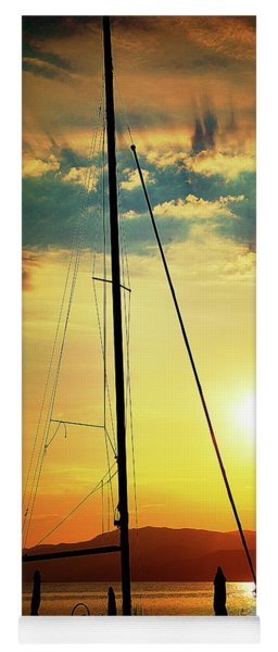 Yoga Mat featuring the photograph the Boat and the Sky by Milena Ilieva