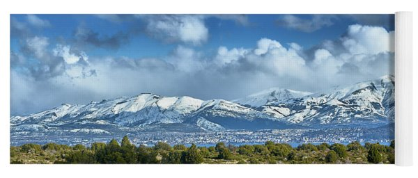 The City Of Bariloche And Landscape Of Snowy Mountains In The Argentine Patagonia Yoga Mat