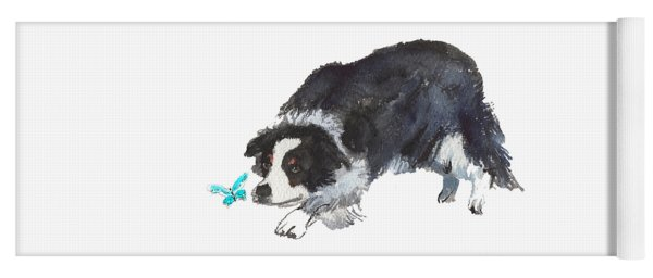 The Collie And Blue Butterfly Yoga Mat