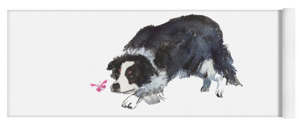 The Collie And Pink Butterfly Yoga Mat
