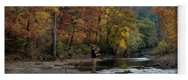 Yoga Mat featuring the photograph The Flyfisherman by Joe Sparks