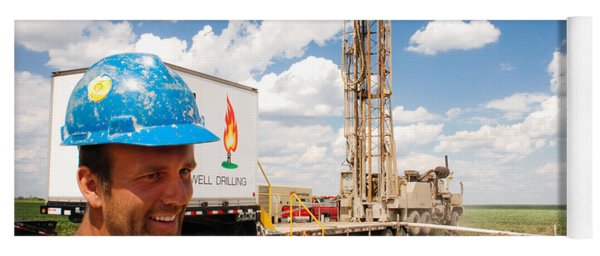 Yoga Mat featuring the photograph The Gas Man by Carl Young