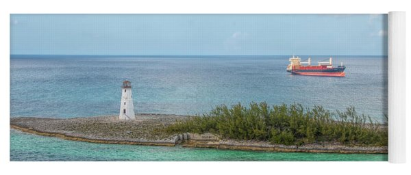 The Lighthouse And The Freighter Yoga Mat