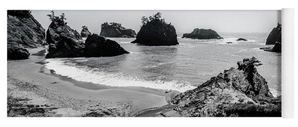 The Oregon Coast In Black And White Yoga Mat
