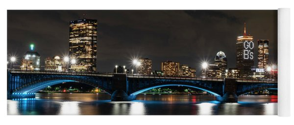 The Pru Lit Up For The Boston Bruins Boston Ma Charles River Longfellow Bridge Skyline Yoga Mat