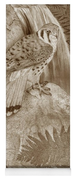 The Quiet Forest - American Kestrel - Sepia - Borderless Yoga Mat