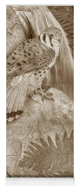 The Quiet Forest - American Kestrel - Sepia - Bordered Yoga Mat