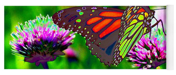 The Red Monarch Butterfly Yoga Mat
