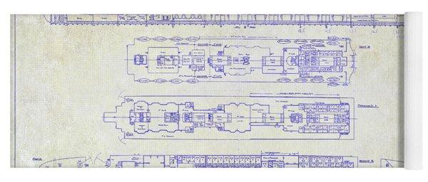 The Titanic Ship Blueprint Yoga Mat
