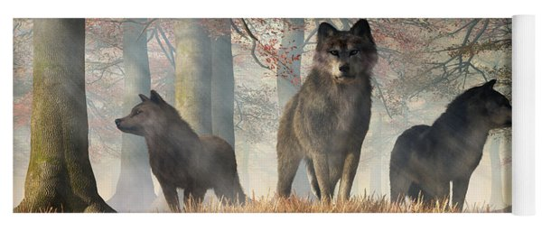 Yoga Mat featuring the digital art The Wolves Of Autumn by Daniel Eskridge