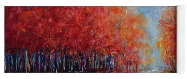 The World Is Empty Without You Palette Knife By Olena Art Yoga Mat