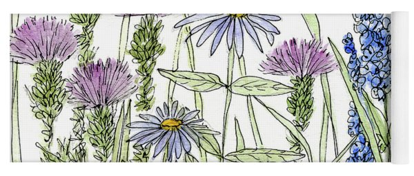 Thistle Asters Blue Flower Watercolor Wildflower Yoga Mat