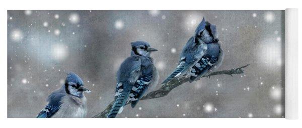 Three Blue Jays In The Snow Yoga Mat