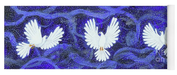 Three Doves In A Swirling Midnight Yoga Mat
