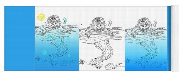 Three Mermaids All In A Row Yoga Mat