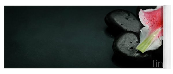 Top View Of Spa Stones And Flower Petal Over Black Background Yoga Mat