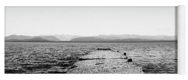 Old Stone Docks On The Nahuel Huapi Lake In The Argentine Patagonia - Black And White Yoga Mat