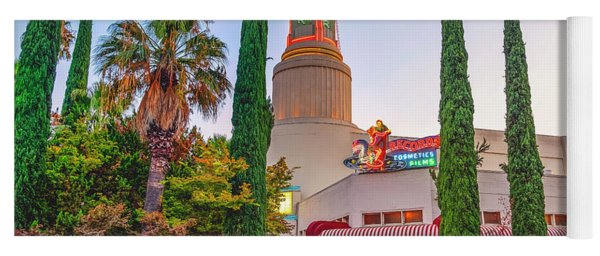 Yoga Mat featuring the photograph Tower Cafe Sunset- by JD Mims