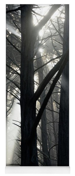 Trees And Fog Yoga Mat