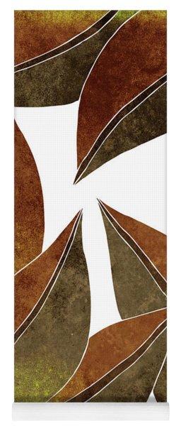 Tropical Leaf Illustration - Yellow, Brown - Botanical Art - Floral Design - Modern, Minimal Decor Yoga Mat