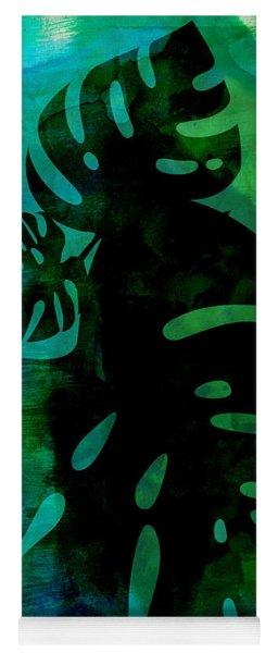 Tropical Monstera Leafs Watercolor Yoga Mat