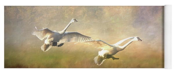 Trumpeter Swan Landing - Painterly Yoga Mat