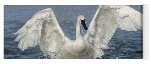 Yoga Mat featuring the photograph Trumpeter Swan Splash by Patti Deters