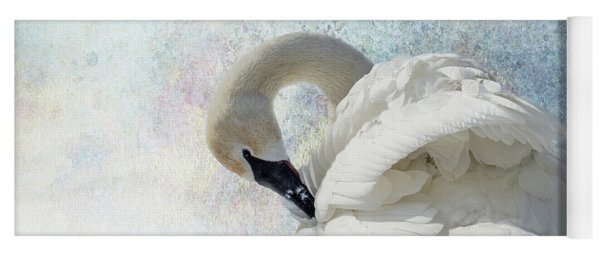 Yoga Mat featuring the photograph Trumpeter Textures #2 - Swan Preening by Patti Deters