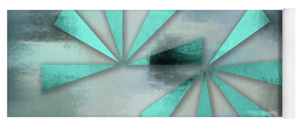 Turquoise Triangles On Blue Grey Backdrop Yoga Mat