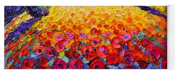 Tuscany Poppies Roundscape Sunrise Textural Impressionist Knife Oil Painting By Ana Maria Edulescu Yoga Mat