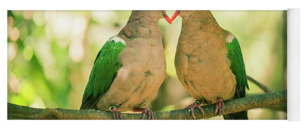 Two Colourful Doves Resting Outside On A Branch. Yoga Mat