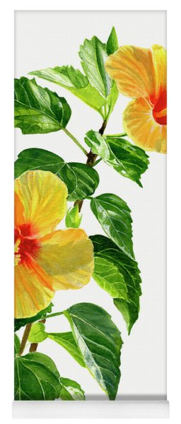 Two Yellow Hibiscus Flowers Yoga Mat
