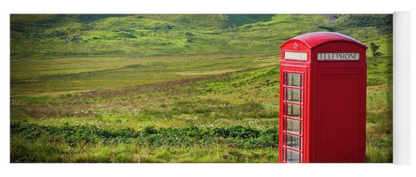 Typical Red English Telephone Box In A Rural Area Near A Road. Yoga Mat