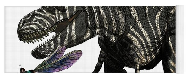 Tyrannosaurus And Dragonflies Yoga Mat