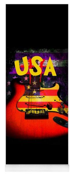 Usa Flag Guitar Purple Stars And Bars Yoga Mat