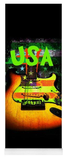 Usa Strat Guitar Music Green Theme Yoga Mat