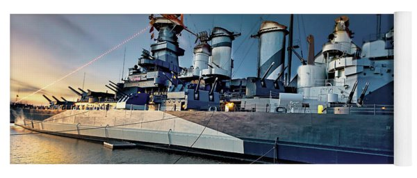 Uss North Carolina At Sunset Yoga Mat