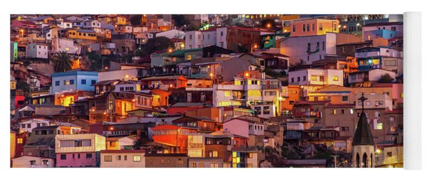 Valparaiso At Night Yoga Mat