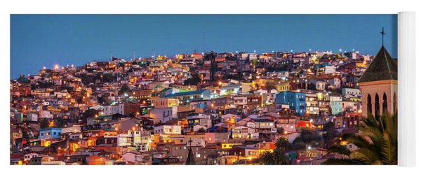 Valparaiso Illuminated At Night Yoga Mat