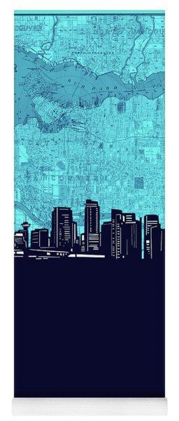 Vancouver Skyline Map Turquoise Yoga Mat