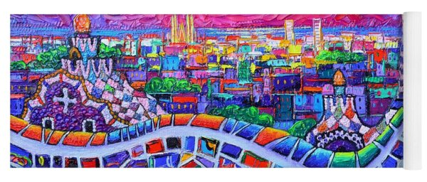 Vibrant Barcelona Night View From Park Guell Modern Impressionism Knife Painting Ana Maria Edulescu Yoga Mat