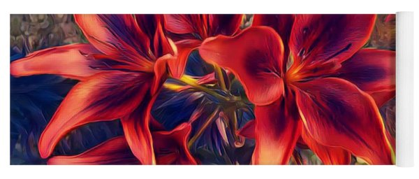 Vibrant Red Lilies Yoga Mat