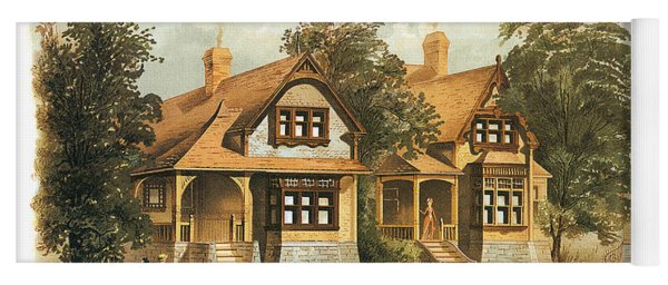 Victorian Houses 19th Century And Horse Carriage Yoga Mat