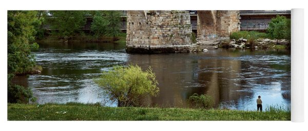 View Of The Roman Bridge And The Minho River Yoga Mat