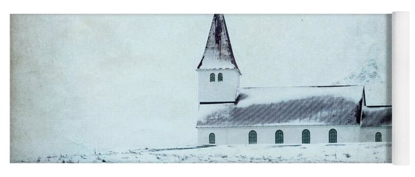 Vik I Myrdal Church In Snow Yoga Mat